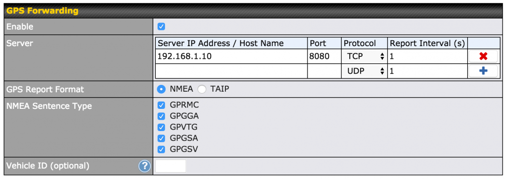 configuring gps forward on pepwave max web admin page