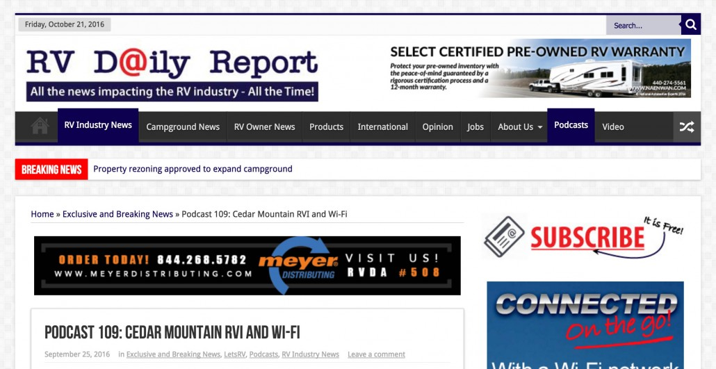 RV Daily Report: Podcast 109 on how Peplink can provide a faster and better internet for caravans, campers and recreational vehicle.